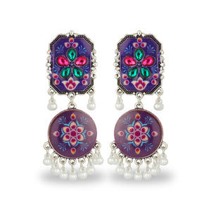 PURPLE HAND PAINTED AFGHANI EARRING