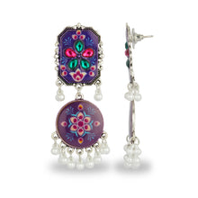 Load image into Gallery viewer, PURPLE HAND PAINTED AFGHANI EARRING