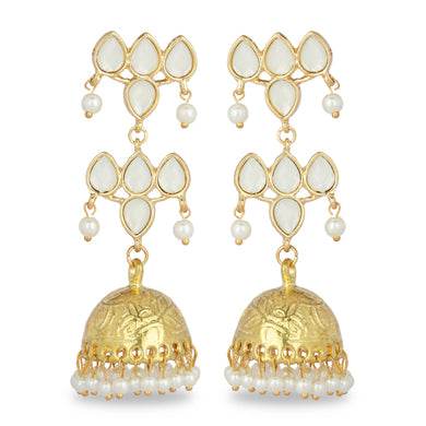 GOLDEN HOOP JHUMKA EARRING WITH WHTE STONES