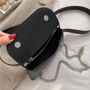 CHIC TINY BLACK SLING BAG WITH METAL CHAIN HANDLE