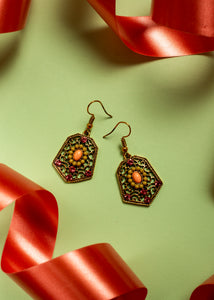 Afghani intricate earrings with ruby studs