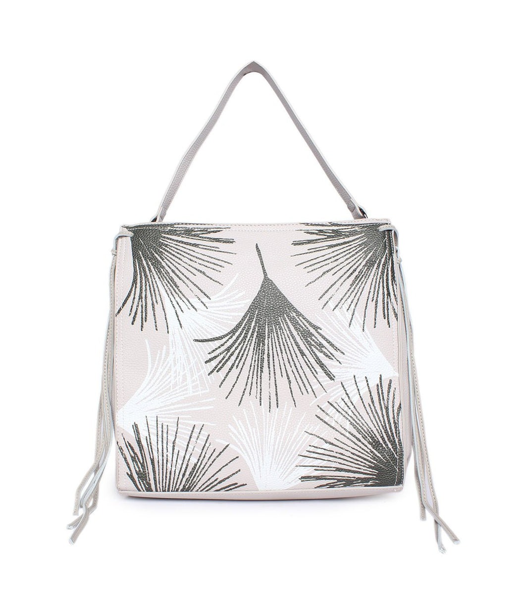 Leaf Pattern Handbag-Grey