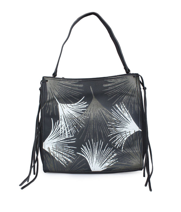 Leaf Pattern Handbag-Black
