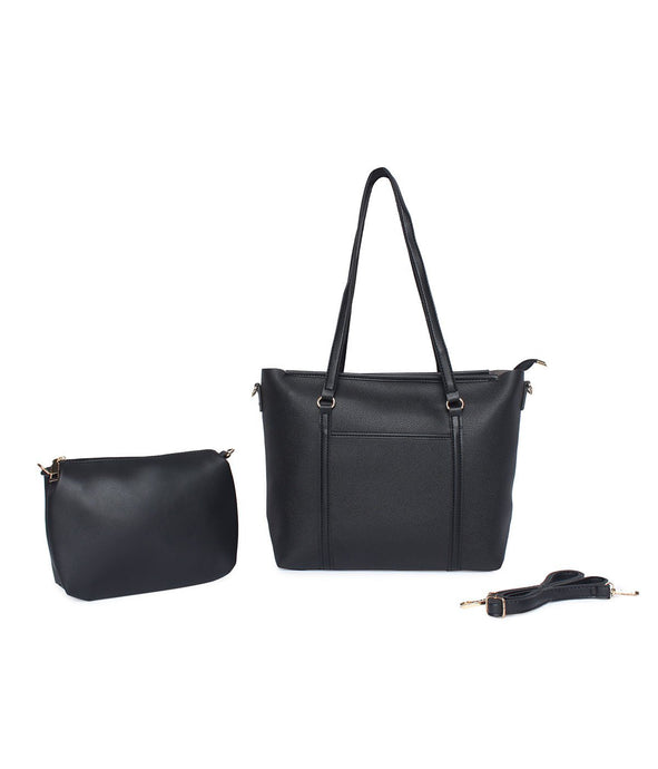Structured Neutral Tote-Black