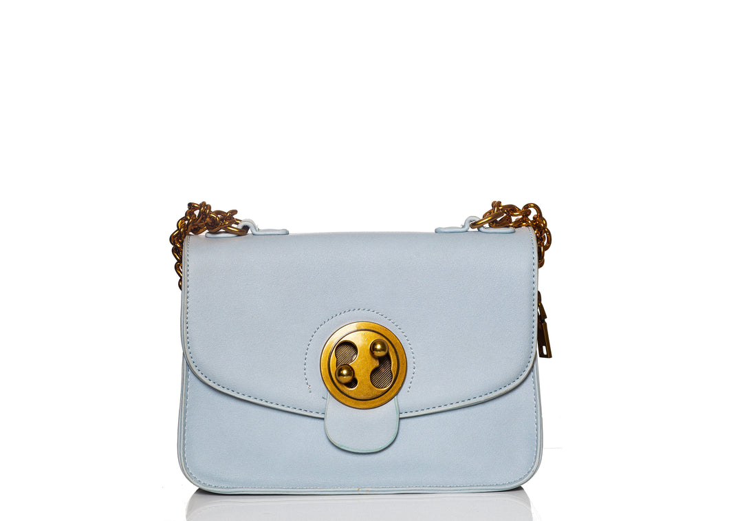 Light Blue Sling Bag with Twist Lock Buckle
