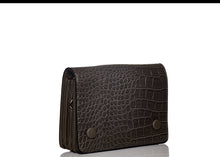 Load image into Gallery viewer, Double Button Croc Clutch- Brown