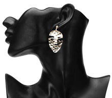 Load image into Gallery viewer, UNIQUE FACE SHAPED GOLD DROP EARRINGS