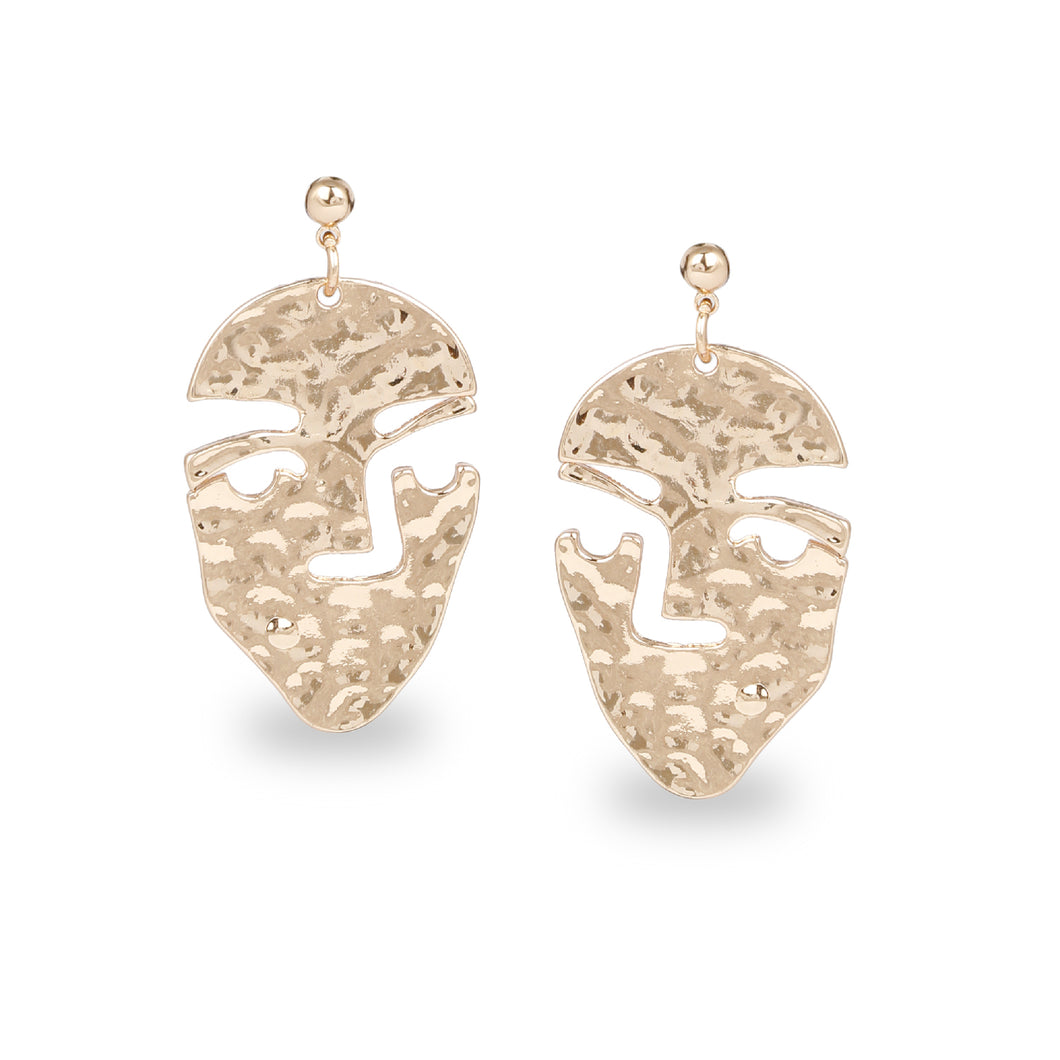 UNIQUE FACE SHAPED GOLD DROP EARRINGS