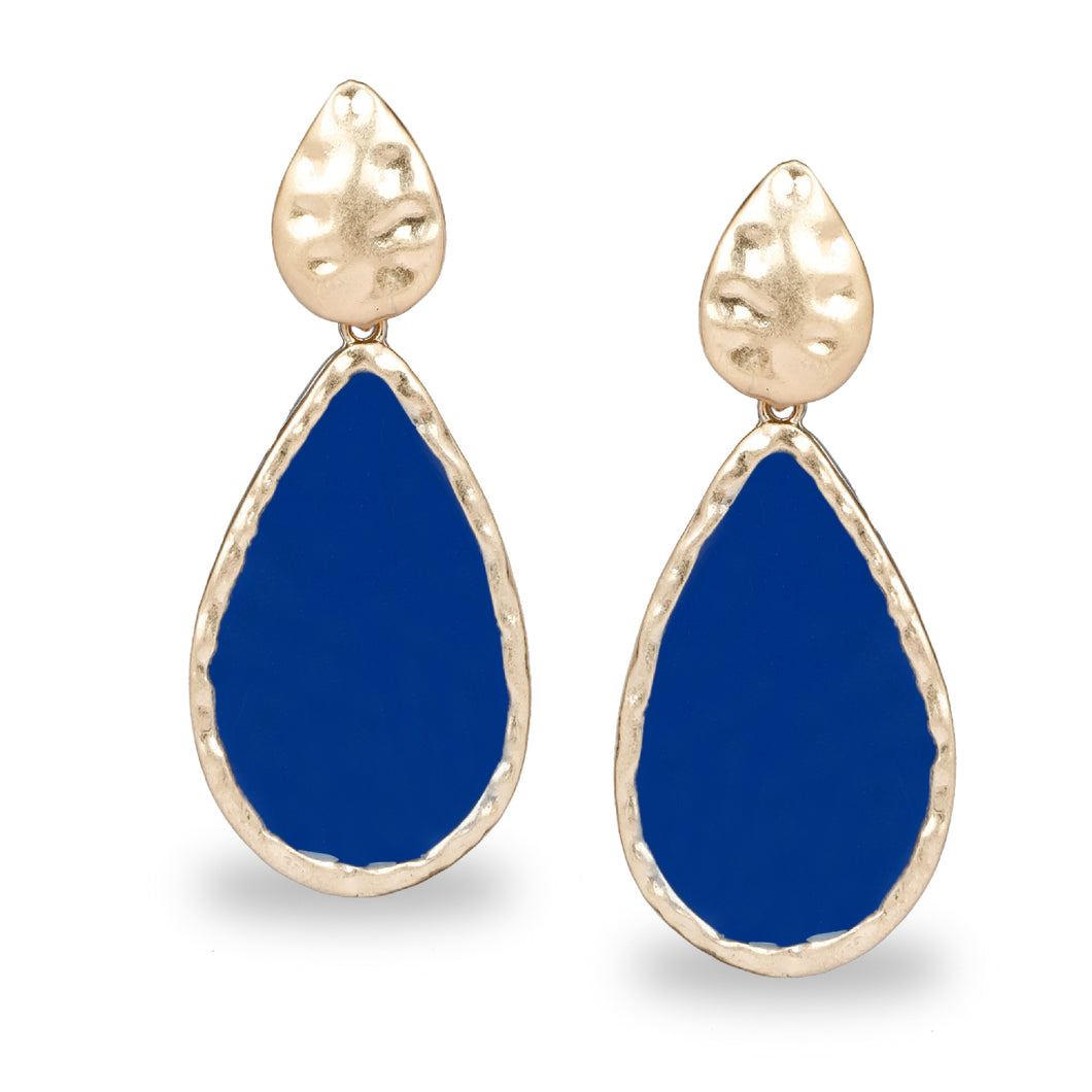 DROP SHAPED EGYPTIAN BLUE LONG ENAMEL EARRINGS
