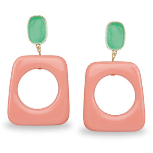 PINK AND BLUE GEOMETRIC CLASSY EARRINGS