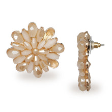 Load image into Gallery viewer, FLORAL BEADED LARGE PEACH STUD EARRINGS