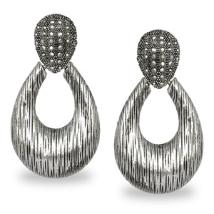 SILVER OXIDISED DROP SHAPED LARGE DESIGNER EARRINGS