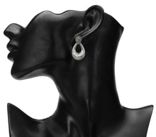 Load image into Gallery viewer, SILVER OXIDISED DROP SHAPED LARGE DESIGNER EARRINGS