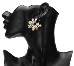 GLOSSY GOLDEN FLOWER STATEMENT PARTY EARRINGS