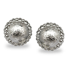 Load image into Gallery viewer, SILVER ROUND ETCHED STUD PARTY EARRINGS