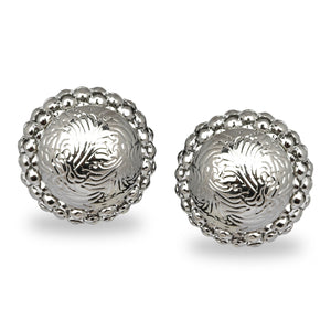 SILVER ROUND ETCHED STUD PARTY EARRINGS