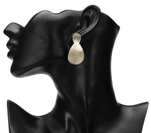 Load image into Gallery viewer, DROP SHAPED OXIDISED VINTAGE GOLD LARGE DESIGNER EARRINGS