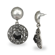 Load image into Gallery viewer, CIRCULAR SILVER OXIDISED AZTEC EARRINGS