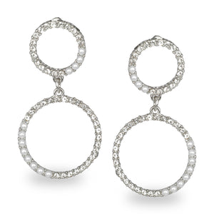 CIRCULAR SILVER EMBELLISHED PARTY EARRINGS
