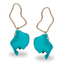 Load image into Gallery viewer, TURQUOISE PETAL SHAPED DANGLING EARRINGS