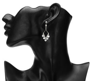 DELICATE SILVER V SHAPED PARTY EARRINGS