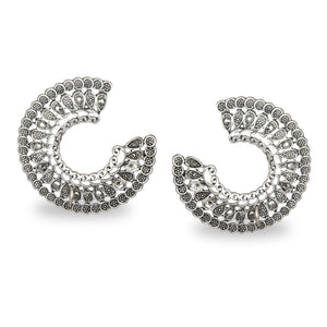 C SHAPED AZTEC OXIDISED SILVER STUD EARRINGS