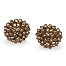 Load image into Gallery viewer, FLORAL SHIMMERING BRONZE STUD EARRINGS