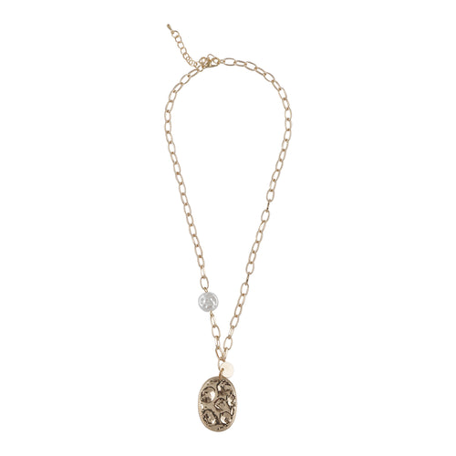 GOLD LINKED CHAIN NECKLACE WITH OVAL PENDANT