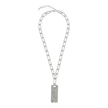Load image into Gallery viewer, SILVER LINKED CHAIN NECKLACE WITH RULER SCALE PENDANT