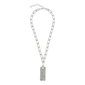 SILVER LINKED CHAIN NECKLACE WITH RULER SCALE PENDANT