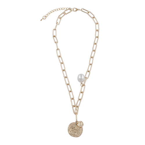 GOLD LINKED CHAIN NECKLACE WITH CIRCULAR PENDANT