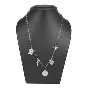 SILVER LINKED CHAIN NECKLACE WITH CHARMS