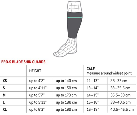 G-Form Pro S Blade Size Chart