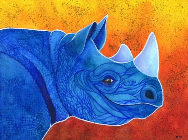 Rhinoceros Art, Watercolor Rhino Art Print, Rhino Wall Art, Whimsical Animal Art Print, Whimsical Art Print Watercolor Painting