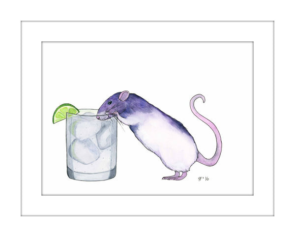 Gin and Tonic Print, Kitchen Wall Decor, Whimsical Animal Art Print, Funny Animal Art Whimsical Art Print, Funny Art Print, Kitchen Wall Art