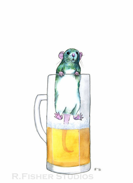 Pet Rat Art Print, Beer Art Print, Whimsical Art Print, Kitchen Decor, Wine Wall Art, Kitchen Wall Art, Whimsical Animal Art Print