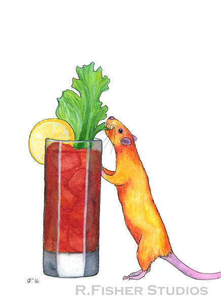 Pet Rat Art Print, Bloody Mary Art, Whimsical Art Print Watercolor, Whimsical Animal Art Print, Kitchen Wall Decor, Home Bar Decor