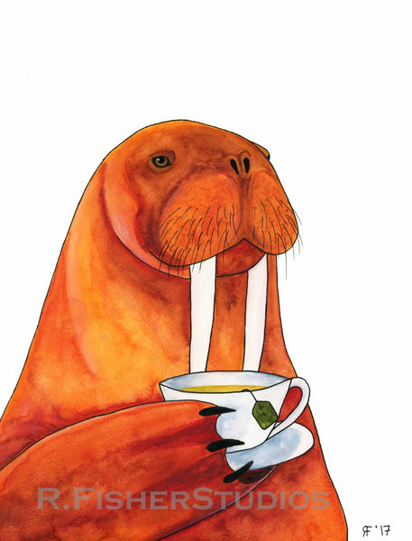 Walrus Art Print Walrus Painting Tea Lover Gift Whimsical Animal Art Funny Kitchen Art Kitchen Wall Art Tea Art Print Walrus Illustration