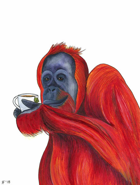 Orangutan Painting, Tea Lover Gift, Whimsical Animal Art Print, Watercolor Painting, Whimsical Kitchen Decor, Kitchen Wall Art