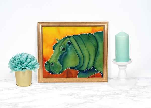 Green Hippopotamus Print, Whimsical Animal Art Print, Watercolor Painting, Hippo Gifts, Hippo Wall Art Watercolor Art Print Animal Wall Art