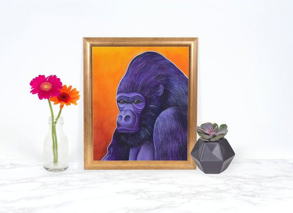 Watercolor Gorilla Painting, Gorilla Art Print, Whimsical Animal Art Print, Wildlife Painting, Animal Painting, Whimsical Art Print