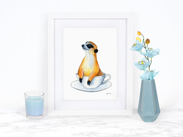 Watercolor Meerkat Art Print, Whimsical Art Print, Watercolor Painting, Kitchen Wall Decor, Funny Kitchen Art, Funny Animal Art