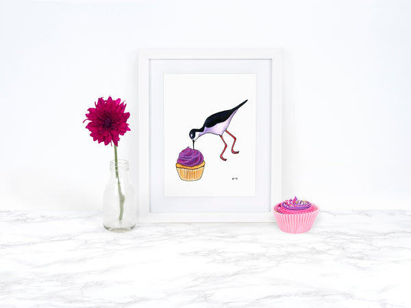 Cupcake Art Print Funny Food Gift Whimsical Animal Art Watercolor Art Print Watercolor Bird Art Beach Decor Coastal Wall Art