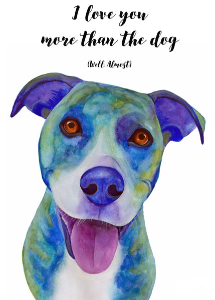 Funny Anniversary Card, Happy Anniversary Card, I Love You Cards, Funny Love Cards, Funny Dog Birthday Card Funny, Blue Pitbull Card