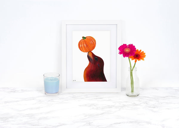 Pumpkin Decor Fall Decor Kitchen Decor Kitchen Wall Art Whimsical Art Print Coastal Decor Pumpkin Art Print Watercolor Pumpkin Painting