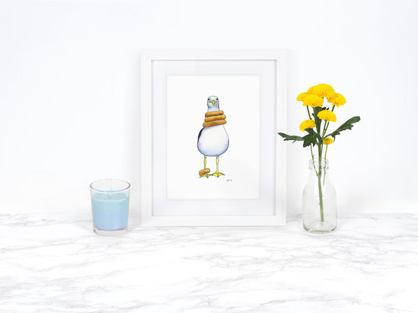 Watercolor Seagull Art Print, Whimsical Animal Art Print, Coastal Wall Art, Whimsical Art Print, Kitchen Wall Decor, Beach Decor