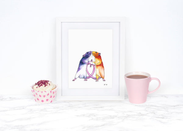 Pet Rat Art Print, Watercolor Rat Painting, Whimsical Animal Art Print, Whimsical Art Print Watercolor Painting Love Art Print Love Wall Art