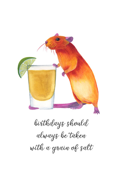 Alcohol Birthday Card Funny Blank Birthday Card for Friend Animal Birthday Card Funny Birthday Card Cute Birthday Card Watercolor Birthday