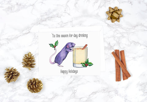 Rat Christmas Card Funny Christmas Card Funny Christmas Card Set Holiday Card Set Funny Holiday Card Eggnog Christmas Card