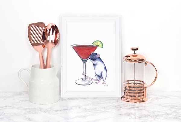 Pet Rat Art Print, Cosmopolitan Drink, Home Bar Decor, Whimsical Art Print, Watercolor Painting, Kitchen Wall Decor, Kitchen Wall Art